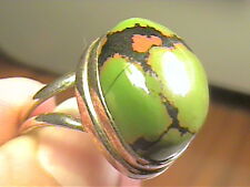 Silver RING 9 green TURQUOISE elegant sterling 925  gold toned old bold big nice