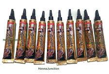 10 Dark Black Henna Applicator Tubes Temporary Tattoo Kit Body Art Herbal Ink