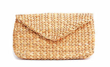 Mini Vintage Handmade Knit Bamboo Rattan Straw Clutch Bag / Handbag Purse Wallet