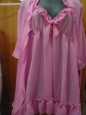 3-Piece Pink Babydoll Nightdress knickers and wrap Set BNWT Size 12
