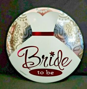 """Big  """"Bride To Be""""  Bridal Shower  Bachelorette Party  Silver, Pink & White  Pin"""