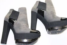 CASADEL Vero Cuoio Grey Suede/Black Patent Leather Booties/Shoes - Size 8