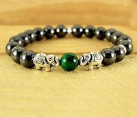 8mm Hematite Bracelet Meditation Bead Stretchy Chakas yoga Unisex Monk pray