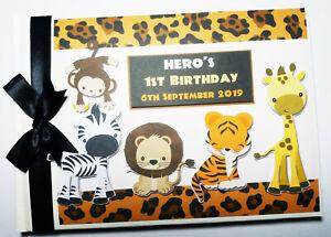 Safari / Jungle animals birthday guest book, safari animals album, gift