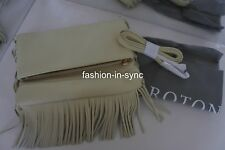Oroton Bueno Tassel Flap Over Clutch Bag Seashell W/ Dustbag