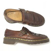 Dr Martens England Woven Leather Shoes 5 UK/US 7 Womens Brown Fisherman 8055