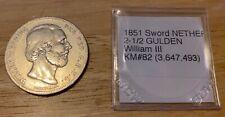 1851 sword NETHERLANDS 2 1/2 GULDEN William III KM#82