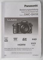 Bedienungsanleitung Panasonic Lumix DMC-GH1K DMC GH1K Instructions