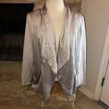 VIVIENNE TAM Gray Open Front Cardigan Shrug M Waterfall pockets stretch sleeves
