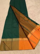 India Green & Orange POLY SILK SAREE with BLOUSE Fashion Gold Zari Women New!!