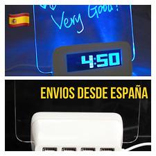 Reloj Despertador Digital LED Con Pizarra Mensajes  4 USB HUB