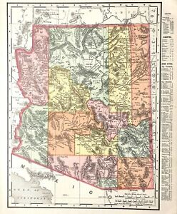 1898 DATED Map ARIZONA Railroad & County Map w Indian, Wild West info