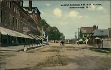 Somersworth NH Central Bldgs & B&M Station c1910 Postcard