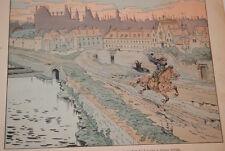 JOB- HENRI IV GRAVURE DESSIN  HERMANT 1894 FUITE DU LOUVRE  GUERRE