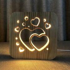 LOVE HEARTS WOODEN LAMP USB LED BEDROOM NIGHT LIGHT SUSTAINABLE OAK WOOD
