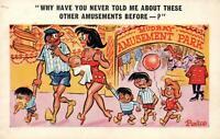 1970 COMIC SEXY CRANKY WOMAN with HUSBAND & TOO MANY KIDS POSTCARD USED