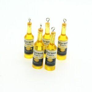 10pcs Yellow Wine Bottle Earring Charms Resin 3D Drinking Bottle Pendant Jewelry
