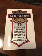 "Harley-Davidson Motorcycle Fire Extinguisher Vinyl Decal  1-7/8"" x 3-1/4"""