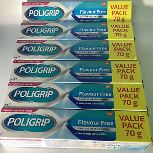 6 x Polygrip Flavour Free Secure Denture Fixative Cream 70g, Long Exp, Free P&P!