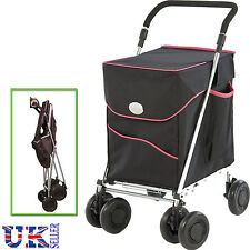 New Sholley Deluxe Black Petite 6 Wheeled Shopping Trolley Foldable Pull Cart