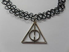 HARRY POTTER CHARM ON A BLACK STRETCH HENNA TATTOO CHOKER NECKLACE VINTAGE HIPPY