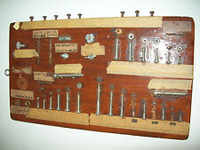 VINTAGE HARDWARE DISPLAY FASTENER DISPLAY-Flat, Round, Washers, Nuts, Bolts