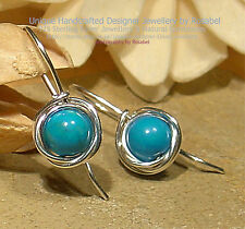 LOVELY TURQUOISE 925 SILVER EARRINGS #0116-4