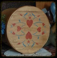 Primitive Farmhouse Amish Shaker Bent Wood Folk Art Heart Design Box Container