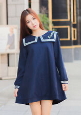 Summer Japanese Lolita Sweet Cute Womens Sailor Collar Long Sleeve Dress