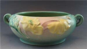 "C1940 Roseville Art Pottery Green Poppy Flower #336-5"" Console Bowl w/ Handles"