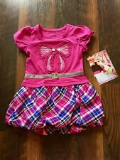 Size 2T multi-color NWT PLAID BUBBLE dress with SEQUIN BOW and BELT by NANNETTE