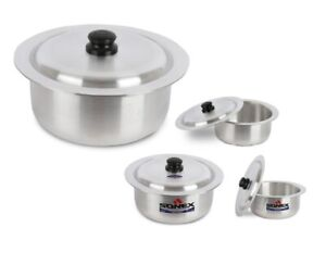 Sonex 4pc Metal Finish Cookware Round Stock Pot Set With Lid 33/36/39/40 cm New