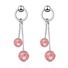 925 Sterling Silver Sweet Strawberry Crystal Bead Dangle Round Stud Earrings