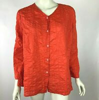 Eileen Fisher Cotton Blouse Top Button-Down Long Sleeve Texture Tunic Red Women