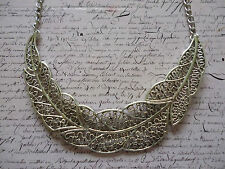 Silver Filigree Floral Flower Leaf Grecian Statement Costume Jewellery Necklace