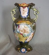 Antique Green Floral & Leaf Transfer Majolica Two Handled Vase c.1900