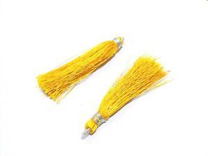 "25 Pair Yellow Colour Silk Thread Tassel Jewellery Making 2""inch Tassel"