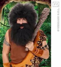** Cavernícola Barba Con Bigote Fiesta Negro Fancy Dress Prop Nuevo ** cara Cabello