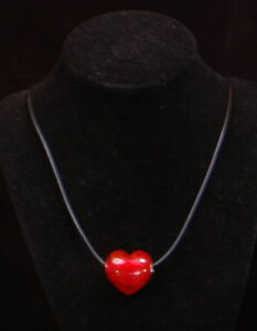 Valentines Sliding Red Glass Heart Pendant Necklace