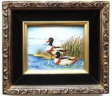 DUCKS Enamel on Copper Painting Still life J. Kooper Tile Trivet Framed Mallards