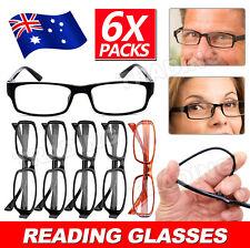 6 Pairs Mens Ladies Wayfarer Frame Magnifying Reading Glasses Nerd Spectacle
