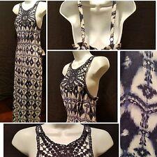 TEEZE ME PARTY BEACH BLUE & WHITE MAXI DRESS CROCHET LACE SIZE M MEDIUM RTAIL$44