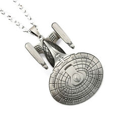 "Star Trek TNG Enterprise Pewter Pendant on 20"" Link Chain"