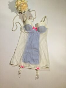 Victoria's Secret Size Medium Lingerie Teddie Bustier Babydoll In White Blue