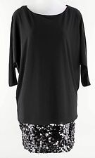 Betsey & Adam Sz 4 Black Silver 3/4 Batwing Sleeve Spangled Skirt Dress E254