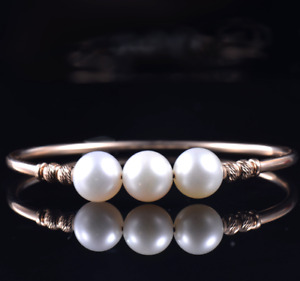 Solid 14K Rose Gold Natural 10MM Pearl Bangle Bracelet Anniversary Women Jewelry