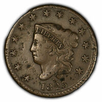 1825 1c Coronet Head Large Cent - Strong Mid-Grade Detail - SKU-Y2047