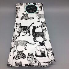 2 Cynthia Rowley Cats Terry Kitchen Towel Set Black White Siamese Tabby Bengal