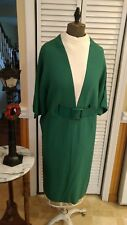 Unique vintage 1960's Green/Ivory Winter dress, Sophisticated styling, M