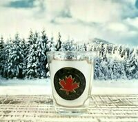 BANFF CANADA Shot Glass Drinking Glass Souvenir Engraved Red Maple Leaf